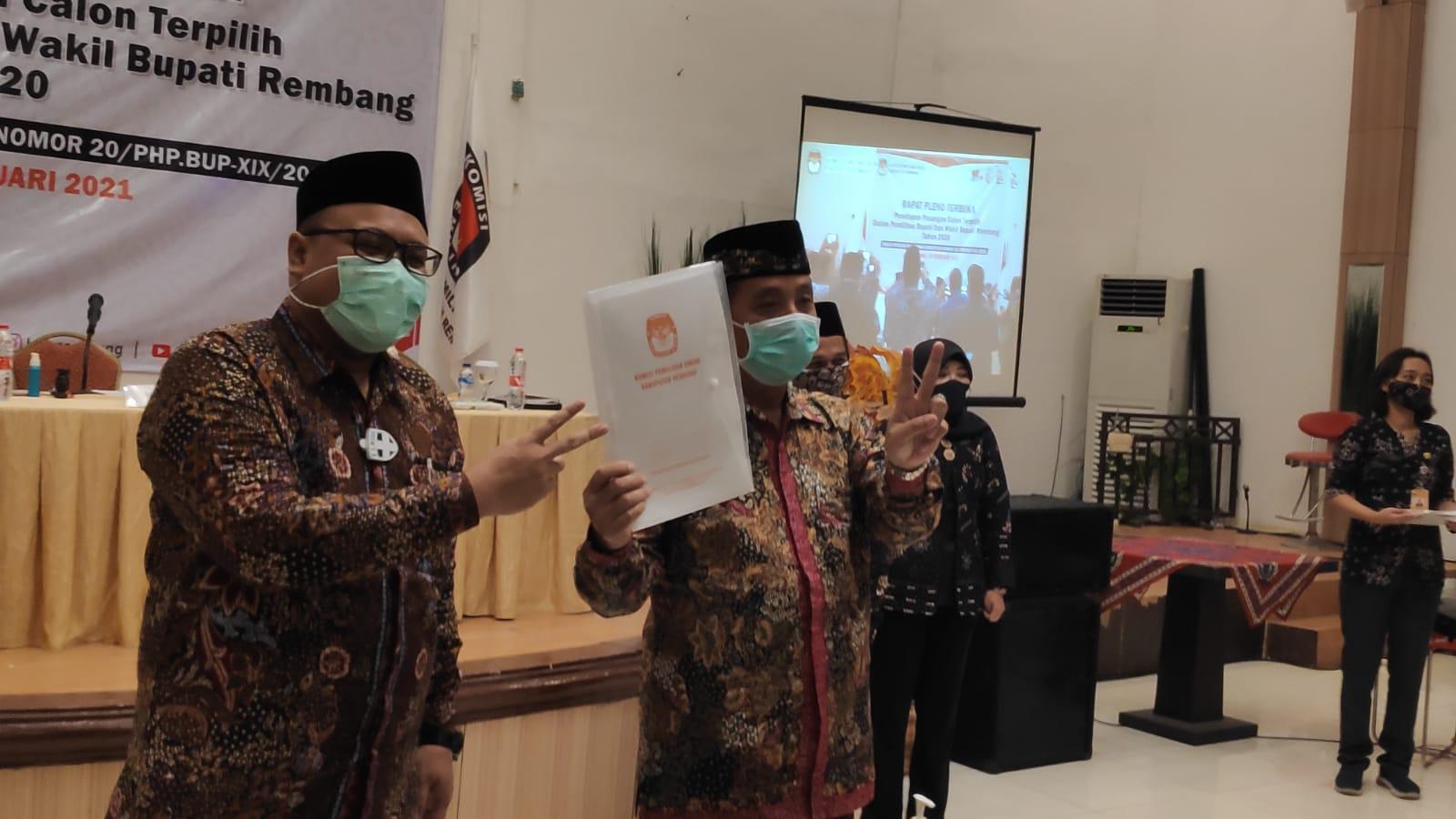 Hafidz-Hanies Ditetapkan Sebagai Bupati dan Wakil Bupati Rembang Terpilih Periode 2021-2024